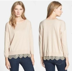 Joie > Cream Hilano Lace Hem Sweater Size Small